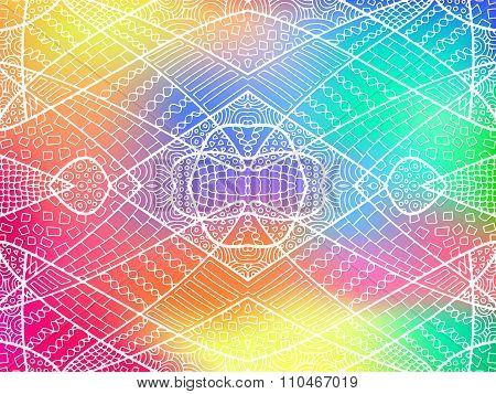 Zentangle Ornament Rainbow Background 1