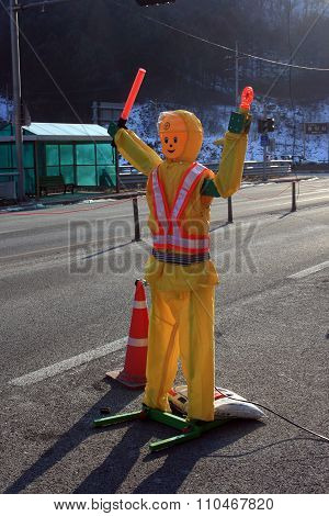 Robot traffic policeman. South Korea.