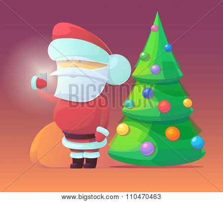 Vector illustration of Santa Claus with firtree and gifts
