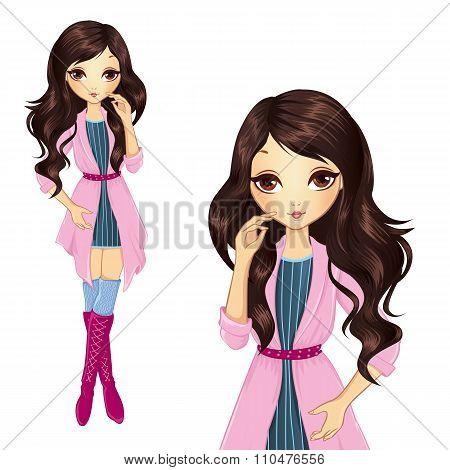 Brunette Girl In Pink Coat