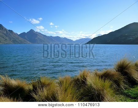 Lake Wakatipu from the Queenstown Gardens in Summer 2