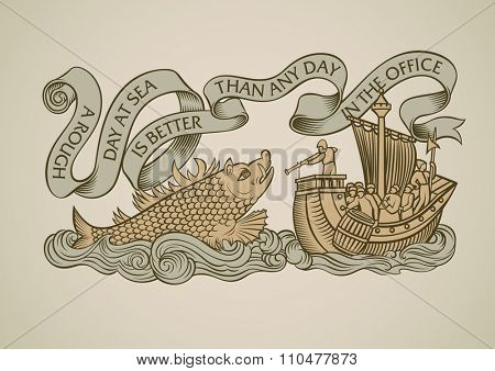 Vintage style design of a caravel attacked by the sea monster. Decorated with the curled banner on the top. Raster image.
