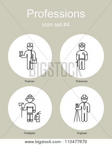 Set of simple monochrome icons of various professions. Raster image.