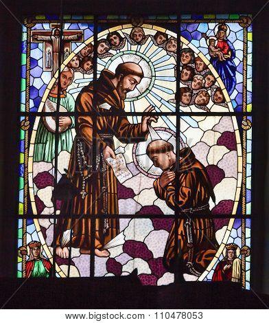 Saint Francis Priests Stained Glass Templo De San Francisco Facade Church San Miguel De Allende Mexi