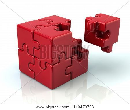Red 3D Puzzle Cube With A Missing Piece