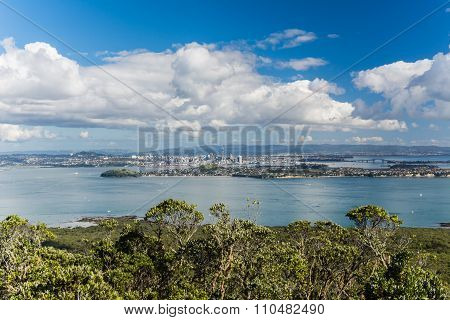 View On Auckland From Rangitoto Island In New Zealand
