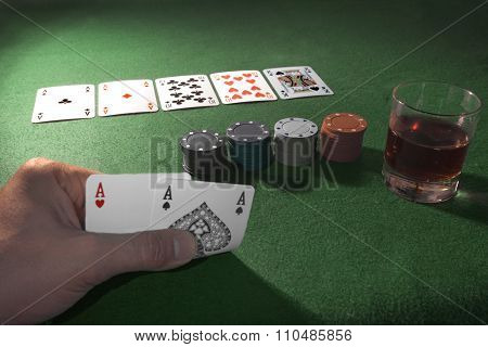 Playing Cards Isolated On Green Background