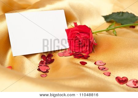 Blank Greeting Card And Red Rose