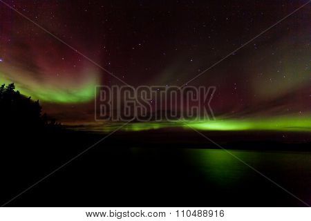 Colorful Aurora Borealis Over Lake Laberge Yukon Canada