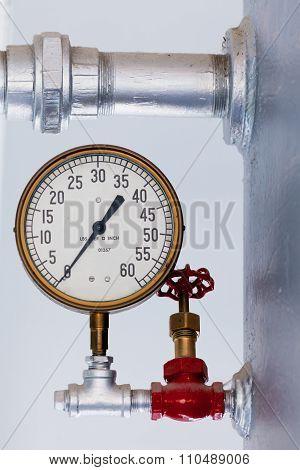 Steampunk Metal Pressure Gauge On Boiler Tank