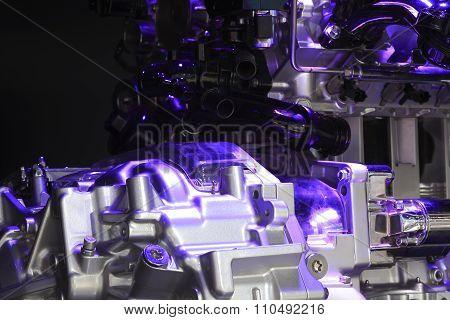 Violet Light Irradiation Car Engine Of Close-up