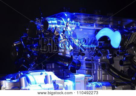 Blue Light Irradiation Car Engine Of Close-up