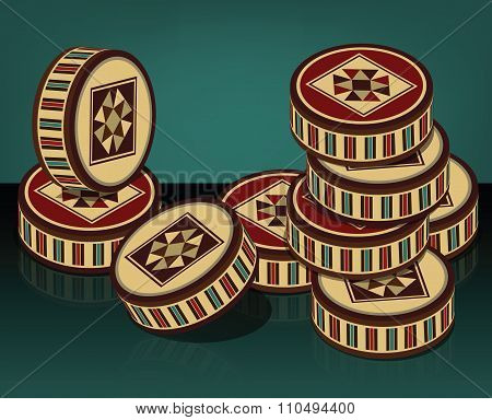 Oriental Beautifully Handcrafted Wooden Backgammon And Checkers Pieces