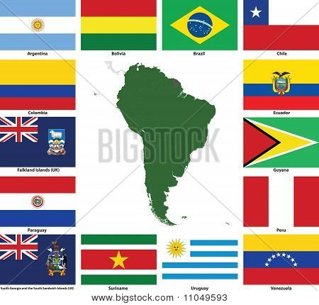 South America Vector Flags And Maps