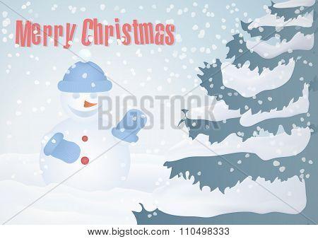 Christmas card with Christmas tree and snowman