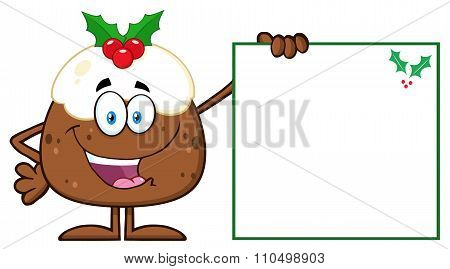 Jolly Christmas Pudding Character Presenting A Blank Sign With A Holly Corner