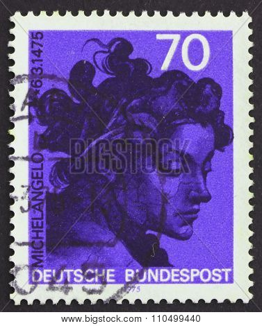 Postage Stamp Germany 1975 Head, By Michelangelo Buonarroti