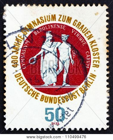 GERMANY - CIRCA 1974: a stamp printed in the Germany Berlin shows School Seal Showing Athena and Hermes, 400th Anniversary of the Gray Brothers School, a Secondary Franciscian School, circa 1974