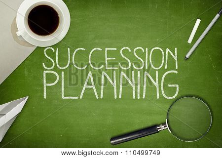 Succession planning concept on blackboard