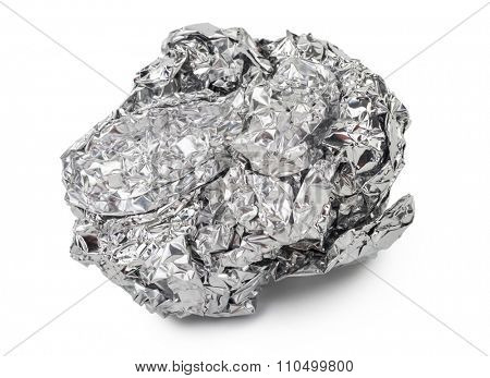Crumpled ball of aluminum foil