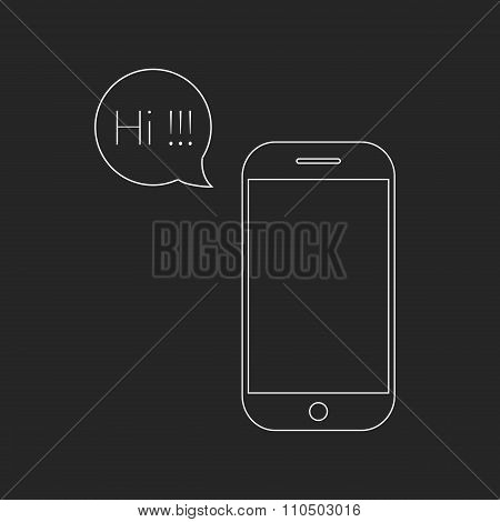 white outline smartphone and speech bubble with hi lettering