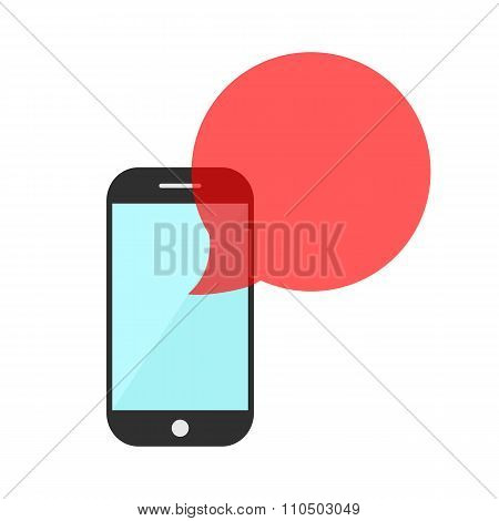 smartphone with red transparent speech bubble