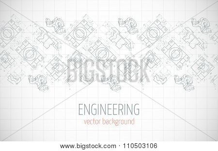 Horizontal Poster, Cover, Banner, Background Of Blue Engineering Drawings Of Parts. Notebook Sheet.