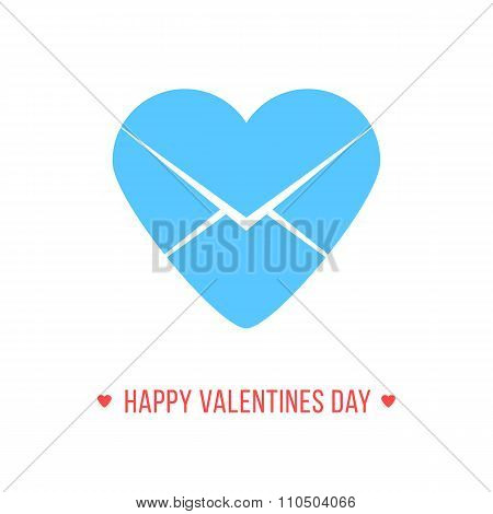 happy valentines day with blue heart letter icon
