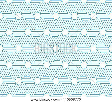 3D Illusion Impossible Triangles Seamless Pattern Background. Linear Industrial Geometric Constructi