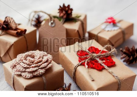 Christmas Presents With Hand Made Decorations - Crocheted Flower And Snowflake, Pine Cones