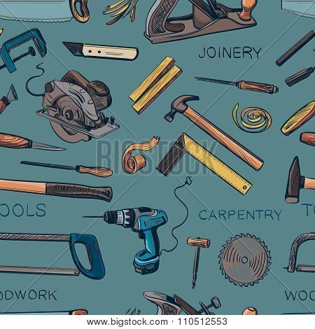 Pattern from various Carpentry, woodworker, joinery tools. Craft Woodwork Screwdriver Table Hamme, Carpenter. poster