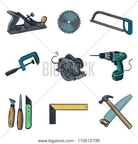 Woodworking industry and Woodworking tools icons - vector icon set. Craft Woodwork Screwdriver Table Hamme, Carpenter.