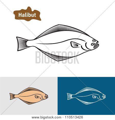 Halibut Fish Sumple One Color Silhouette