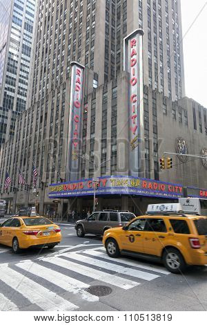 Yellow Cabs In Front Of Radio City Music Hall In Manhattan New York City