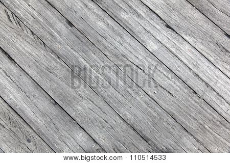 Old Rough Gray Wooden Planks Diagonally Placed