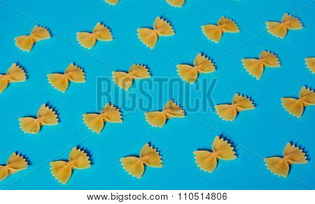 Farfale Pasta Pattern On Turquoise Background Short Shadow