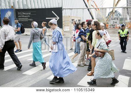 Mennonite Girls Cross The Street In New York City Near Ground Zero