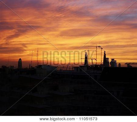 Sunrise In Barcelona. Catalonia. Spain