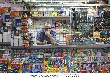 Vendor In New York City Lower Manhattan Kiosk