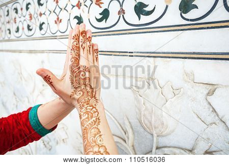Woman hands in namaste in India