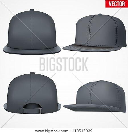 Set Layout of Male black rap cap.