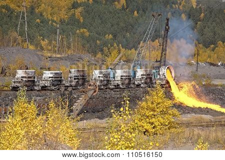 The molten steel is poured