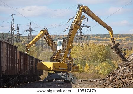 Excavators working