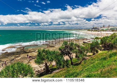 CALOUNDRA, AUS - DEC 06 2015: Hot sunny day at Kings Beach Calundra, Queensland, Australia