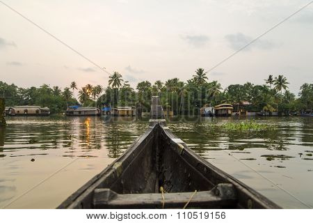 Detail of the boat at backwaters of Kerala India