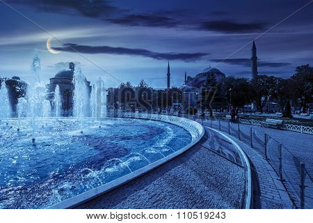 Fountain Near Sophia Basilica Museum In Istanbul At Night