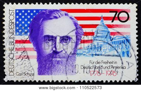 Postage Stamp Germany 1976 Carl Schurz, American Flag And Capito