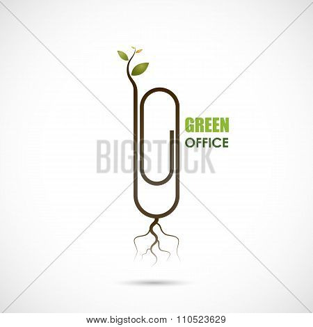 Creative Paper Clip Logo Design. Save The World And Go Green Concept.green Office Design.business An