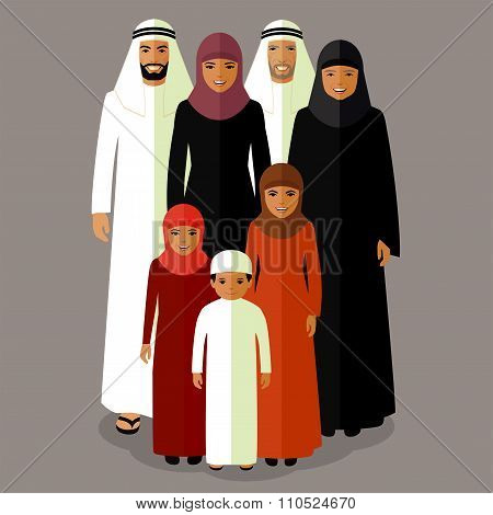 arab family, muslim people