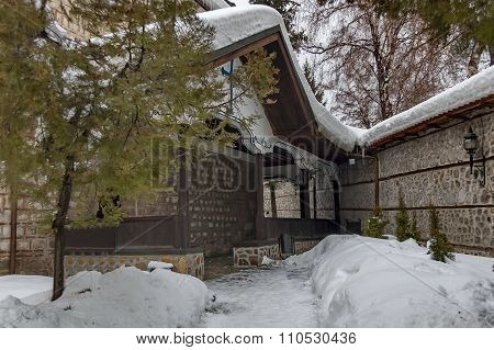 Entrance of church in Bansko town, Bulgaria